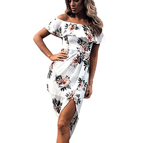114bcc51225 Imprimé Overdose Bal À Sexy Bardot Femmes Épaules Robe Structurée Dénudée  Blanc Fleur longue Fin D été ...