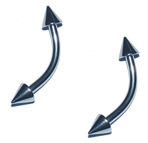 2x Pieces 14 16 Gauge 14g 16g 316L Stainless Steel Spiked Curved Bent Banana Barbell Nipple Tragus Navel Eyebrow Lip Ring Earring Spike 1/4 5/16 3/8 7/16 1/2 Inch Set of 2