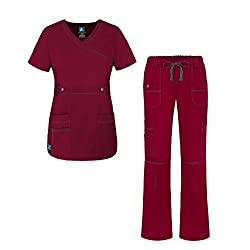 Adar Uniforms Adar Pop-stretch Junior Fit Women's Scrub Set - Crossover Top & Multi Pocket Pants - 3500 - Wine - S