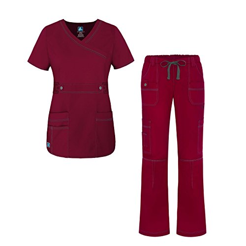 Adar Pop-Stretch Junior Fit Women's Scrub Set - Crossover Top and Multi Pocket Pants - 3500 - Wine - 2X