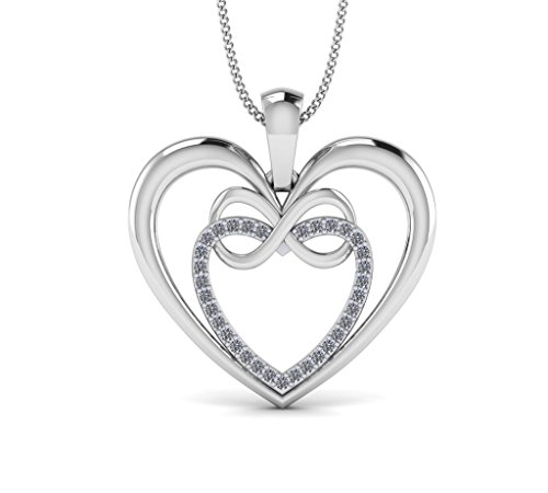 Fehu Jewel 1/8ct Natural Diamond Gold Plated Silver Heart Infinity Pendant For Women