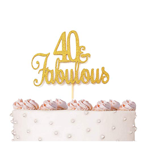 40 & Fabulous Cake Topper Gold Glitter for 40th Birthday Party Decorations