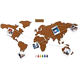 Flamingueo Mapa Mundi Corcho Pared – Mapamundi Grande con Chinchetas para Fotos, Mapa Mundi Pared para Marcar Viajes, Mapamundi Corcho para Pared, Mapa Mundo, 45,5 x 100 cm (Mapa Mundi Corcho)