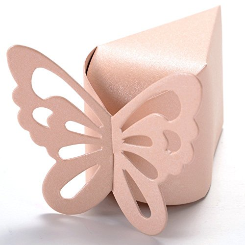 50 Boxes Favor Gift Candy Boxes Butterfly Cake Style Wedding Party Baby Shower (Wedding Cake Gift Box)