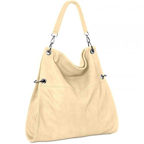 CASPAR TS561 Sac à main multifonction pour femme - porté à l'épaule - bandoulière - plusieurs coloris Blanc Cassé