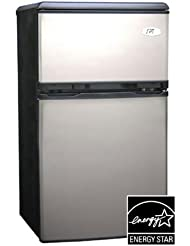 Sunpentown Energy Star 3.2-Cu Ft Double Door Refrigerator with Silver Door