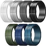 ThunderFit Men's Silicone Rings 7 Pack - Brushed Top Beveled Edges Rubber Wedding Bands (Dark Blue, Dark Green, Dark Grey, Black, White, Navy Blue, Light Grey, 9.5-10 (19.8mm))