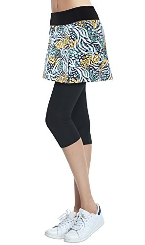 Slimour Womens Flat Printed Sport Skapri with Pockets Slit Side Skirt with Built-in Capri Legging(bk-m)