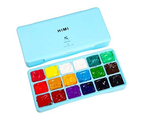 HIMI Gouache Paint Set Jelly Cup 18 Vibrant Colors Non