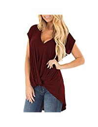 Liraly Short Sleeve T-Shirt for Women 2019, Ladies Casual Loose Soild V Neck Top