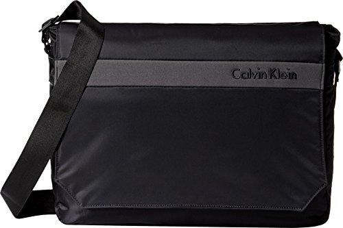 Nylon Flat Messenger - Calvin Klein Flatiron 3.0 Laptop Messenger Bag, Black, One Size