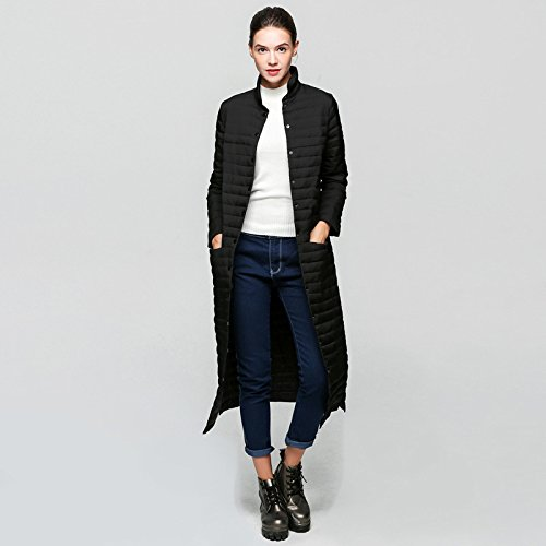 Down Coat sleeve button Color XL Pocket DYF Thicken Black Jacket Solid Collar Long 1zYExYdwq