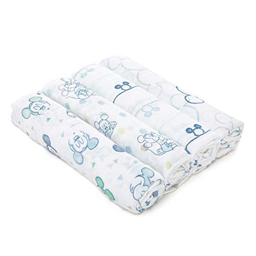 aden by aden + Anais Disney Swaddle Baby Blanket, 100% Cotton Muslin, 4 Pack, 44 X 44 inch, Mickey Bubble Classic Mickey Mouse Pad