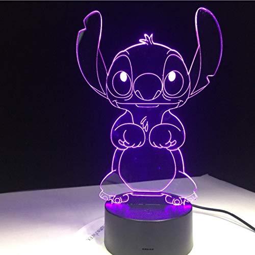 Stitch Cartoon 3D Lámpara Dormitorio Mesa De Noche Luz ...