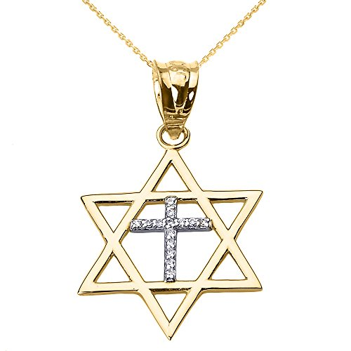 High Polish 14k Yellow Gold Jewish Charm Star Diamond Cross of David Pendant Necklace, 18