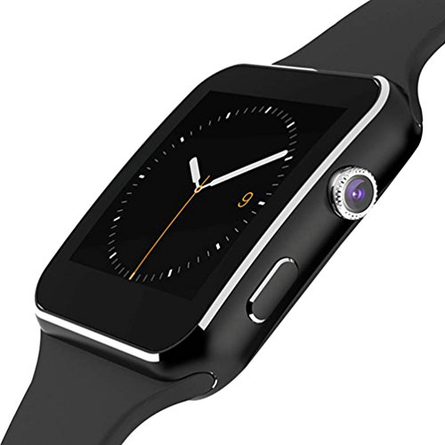 Smartwatch, Bluetooth Smart Watch with SIM Card Lot Camera Pedometer Music Play with Android Huawei Sansung Sony iPhone 8 x for Men Women Kids(Black)