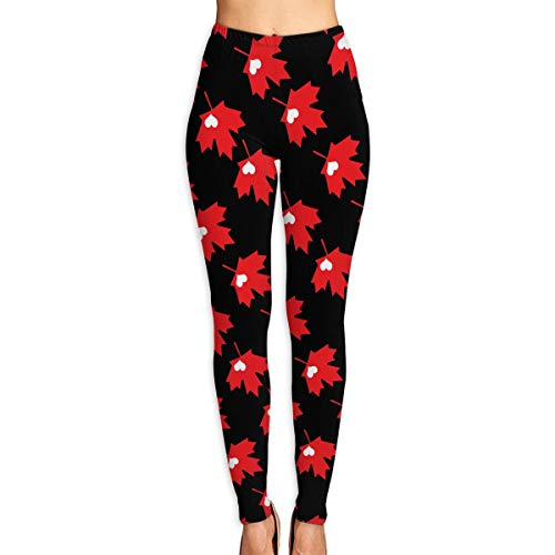 Canadian Maple Leaf and Heart Women's Yoga Capri Pants Active Sport Workout Running Leggings - Womens Leafs Shorts Maple Toronto