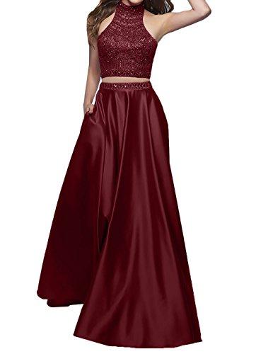 Festlichkleider Burgundy Bodenlang Charmant Ballkleider Kleider Promkleider Abendkleider Jugendweihe Linie Satin A Damen Rot B7Y0B