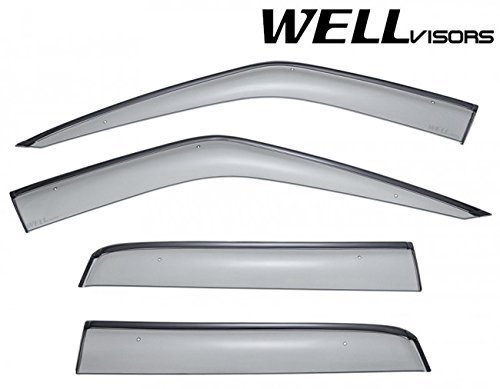 Replacement for 2006-2013 Land Rover Range Rover Clip-ON Chrome Trim Smoke Tinted Side Rain Guard Window Visors Deflectors 3-847LR004