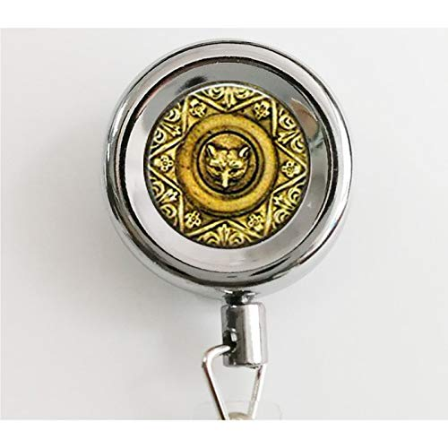 (Fox Jewelry - Fox Face Medallion Pocket Watch Necklace - Fox Lover Retractable Badge Reel with Waterproof ID Holders & Keychain)