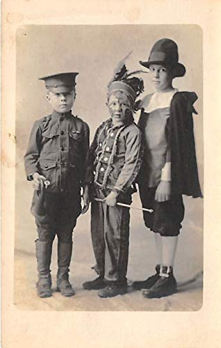 People and Children Photographed on Postcard, Old Vintage Antique Post Card Young children dressed in costumes Unused