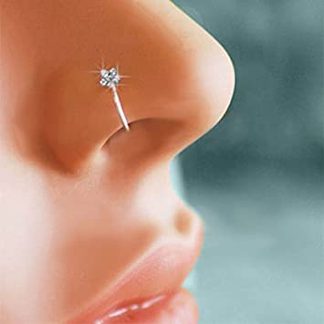 3e2d9df5fe9 Goldenchen Small Thin Flower Clear Crystal Nose Ring Stud Hoop-Sparkly  Crystal Nose Ring