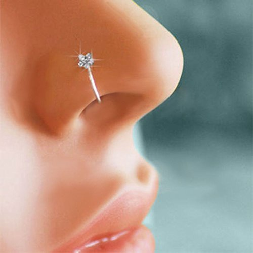 Goldenchen Small Thin Flower Clear Crystal Nose Ring Stud Hoop-Sparkly Crystal Nose Ring (Nose Rings)