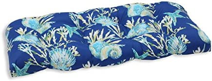 Pillow Perfect Outdoor Indoor Daytrip Pacific Tufted Loveseat Cushion, 44 x 19 , Blue