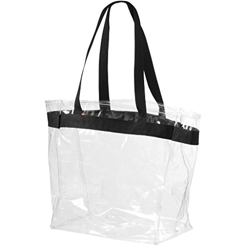 Bullet Hampton Tote (12 x 6 x 12 inches) (Transparent Clear, Solid Black)