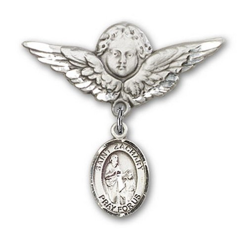 Icecarats Créatrice De Bijoux En Argent Sterling St. Broches Badge Zachary Charme D'Ange 1 1/8 X 1 1/8