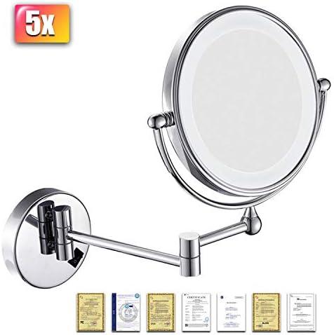 メイクアップミラーウォールマウントライトアップ、バスルーム2つの顔鏡拡張可能バニティミラークローム仕上げのためのLEDライト5倍の倍率で化粧鏡