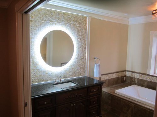 wall mounted lighted vanity mirror led mam2d32 commercial grade 32 round kitchen in the uae. Black Bedroom Furniture Sets. Home Design Ideas