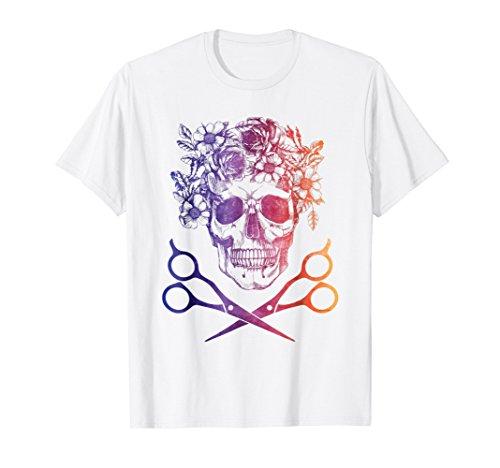 Vintage Sugar Skull Hair Stylist T-shirt Women Gift Shirt ()