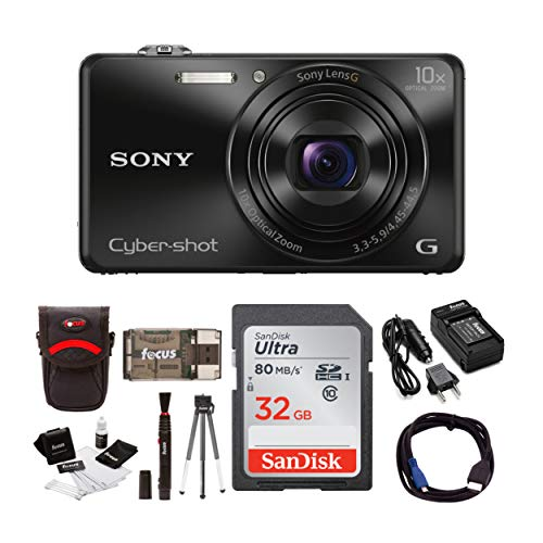 Sony Cyber-Shot DSC-WX220 18.2 MP Digital Camera with 2.7-Inch LCD (Black) with Sony 32GB and Accessory Bundle (Gold Sony Camera)