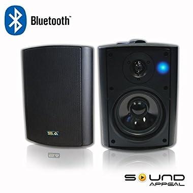 Bluetooth 5.25  Indoor/Outdoor Weatherproof Patio Speakers (Black- pair)- by Sound Appeal