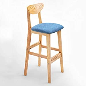 Breakfast-Kitchen-Counter-Chair-Bar-Stool-Bar-Chair-with-Backrest-Wood-Bracket-High-Stool-WSWQWL-Color-Blue