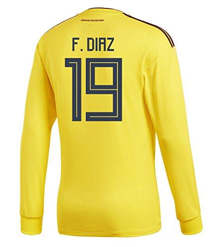 女性アリオーナーadidas Mens F. DIAZ #19 Colombia Home Long Sleeve Soccer Jersey World Cup 2018 /サッカー ユニフォーム ディアス 背番号 19 コロンビア ホーム用 長袖