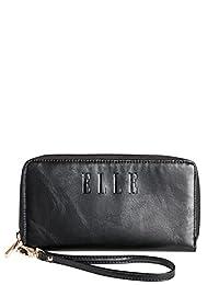 ELLE Faux Leather 7-Inch Zip-Around Black Wallet, Under Seat