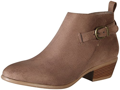 Wild Diva Women's Manny-24 Buckle Stacked Low Heel Ankle Bootie,10 B(M) US,Taupe (Faux Suede Buckle)