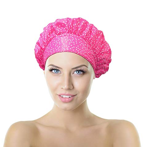 - No Pinch TIARA Shower Cap - Nominated for Best Innovation by ERA Europe - Terry Lined, Reversible Patented TIARA Shape (Dots Pink)