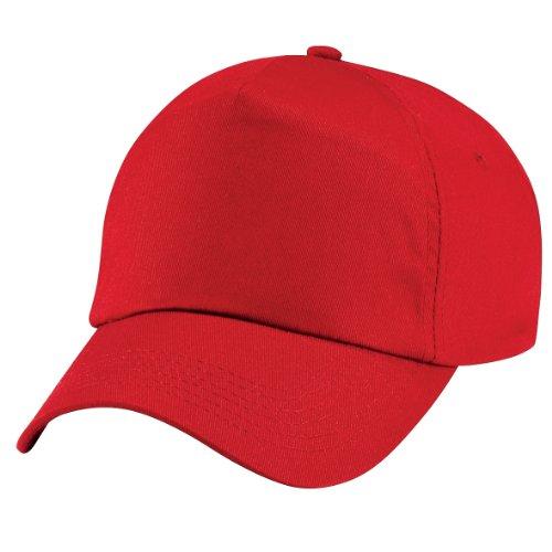 Beechfield - Gorra lisa con 5 paneles para niños/adolescentes Rojo
