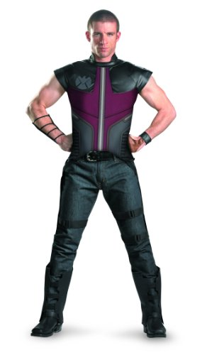 Disguise Hawkeye Avengers Deluxe Adult Licensed Costume,Black/Burgundy, XX-Large (50-52)