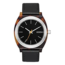 NEW Nixon Time Teller Acetate Leather Watch Tortoise Silver Black