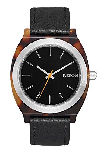 NEW Nixon Time Teller Acetate Leather Watch Tortoise Silver Black