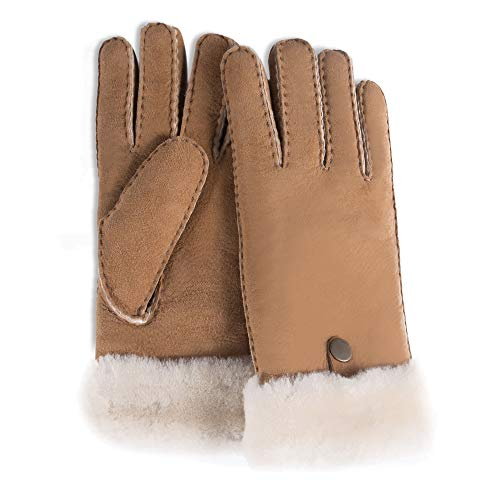 YISEVEN Men's Merino Rugged Sheepskin Shearling Leather Gloves Mittens Sherpa Fur Button Cuff Thick Wool Lined and Heated Warm for Winter Cold Weather Dress Driving Work Xmas Gifts, Camel Medium