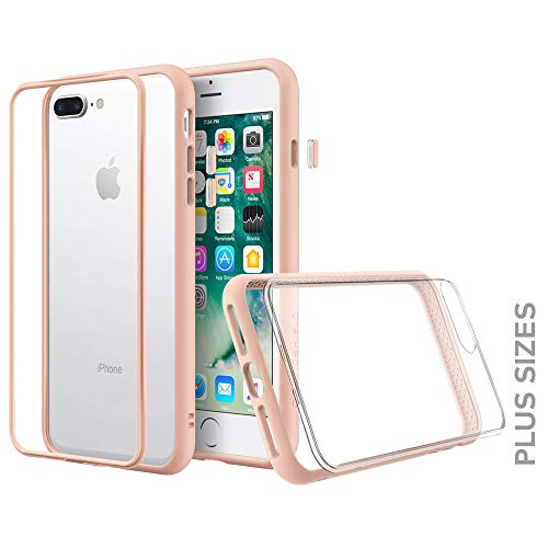 RhinoShield Modular Case for iPhone 8 Plus/7 Plus [Mod NX] Customizable Shock Absorbent Heavy Duty Protective Cover-Compatible w/Wireless Charging & Lenses-Shockproof Blush Pink Bumper w/Clear - Rim Pink