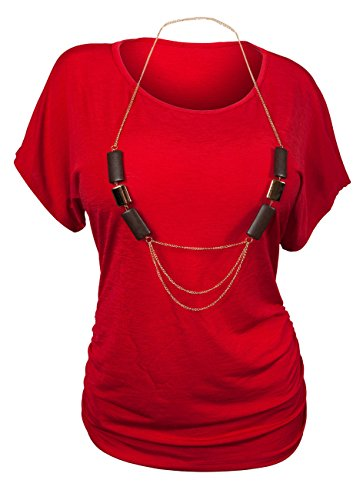 EVogues Plus Size Chain Necklace Accented Scoop Neck Top Red - 3X