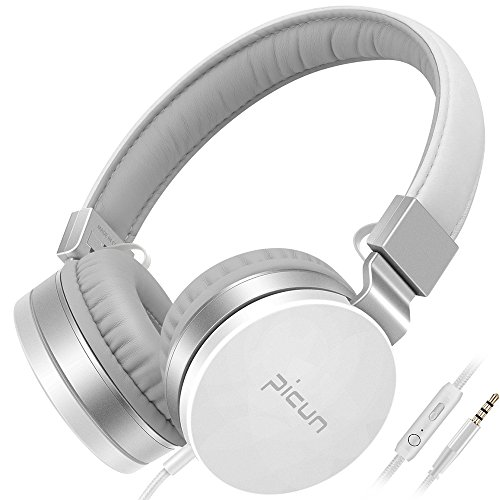Headphones with Mic and Volume Control, Lightweight Foldable Stereo Bass Headphones on Ear, Corded Headset with Soft Protein Earmuff for Cellphones Tablets Smartphones Laptop Computer Pc Mp3/4 (White)
