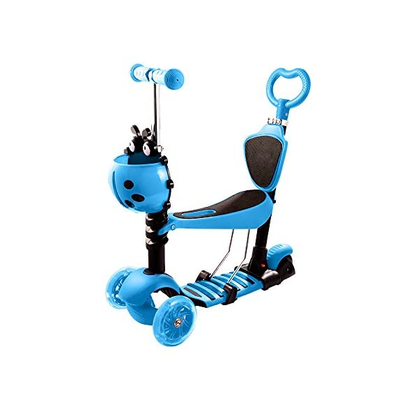 Weskate 5 In 1 Kids Toddler Kick 3 Wheel Mini Scooter 5 In 1 With