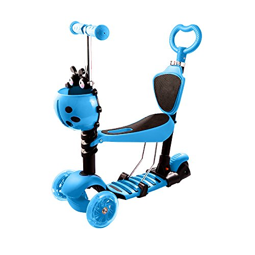 Maxi Buggy - ANCHEER Scooter for Kids 5-in-1, Mini Kick Scooter with Removable Seat, Adjustable Handlebar, LED Light Up Wheels, Gifts for Boys Girls Toddlers 1-8 Years Old (Blue)